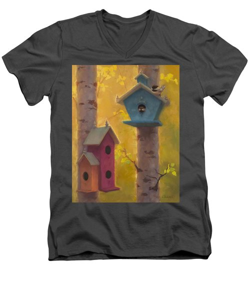 Spring Chickadees 2 - Birdhouse And Birch Forest Men's V-Neck T-Shirt