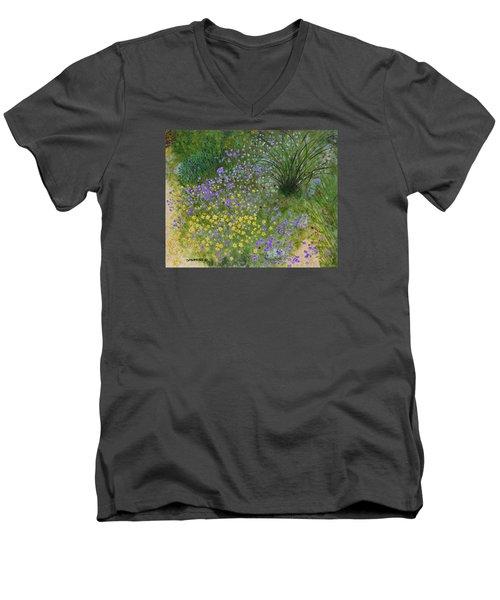 Spring Fling Men's V-Neck T-Shirt by Donna  Manaraze