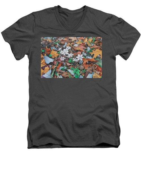 Spring Forward Men's V-Neck T-Shirt by Pamela Clements