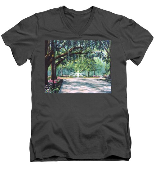 Spring In Forsythe Park Men's V-Neck T-Shirt by Stanton Allaben