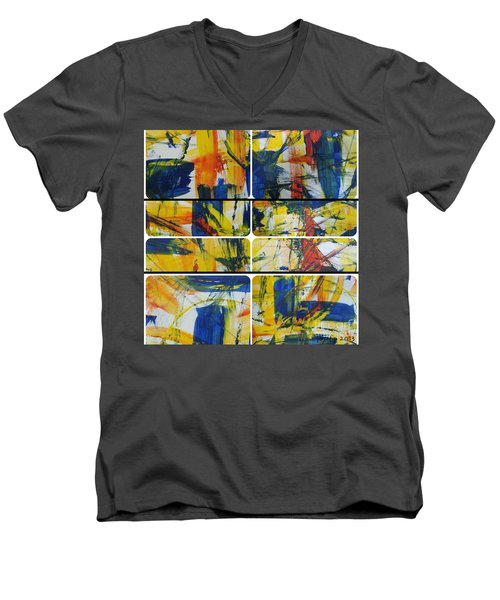 Men's V-Neck T-Shirt featuring the painting Spring Part One by Sir Josef - Social Critic - ART