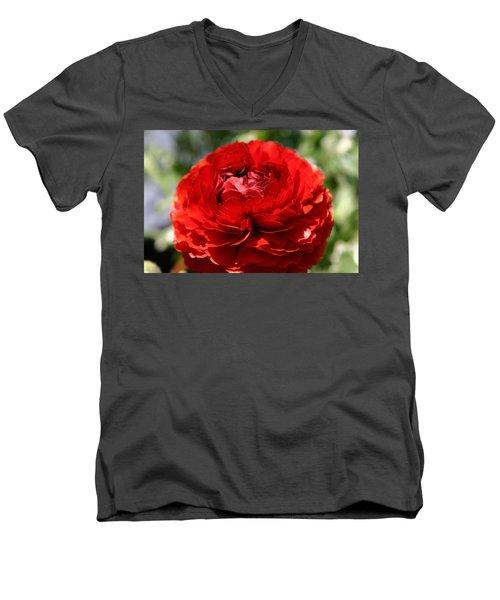 Spring Scarlet Double Begonia Men's V-Neck T-Shirt