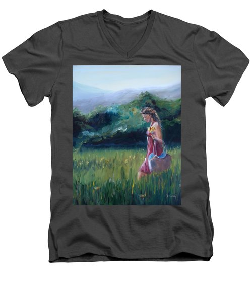 Men's V-Neck T-Shirt featuring the painting Spring Stroll by Donna Tuten