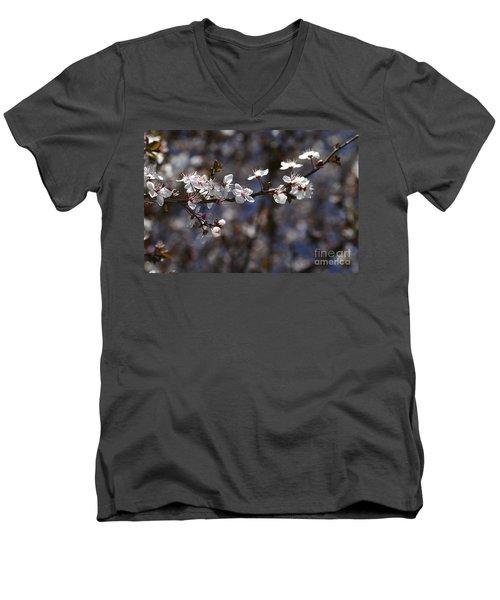 Spring White Blossom Men's V-Neck T-Shirt