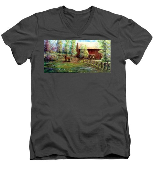 Springborn Horse Farm Men's V-Neck T-Shirt by Bernadette Krupa