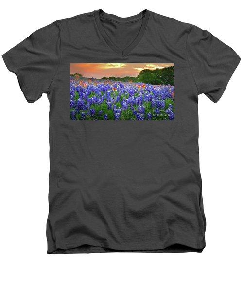 Springtime Sunset In Texas - Texas Bluebonnet Wildflowers Landscape Flowers Paintbrush Men's V-Neck T-Shirt by Jon Holiday
