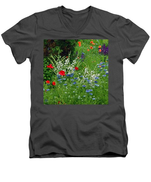 Squarely Spring Floral Garden Men's V-Neck T-Shirt