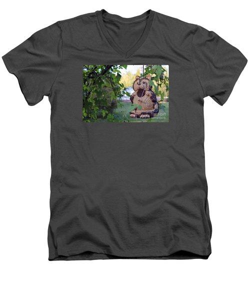 Squirrel Bird Feeder Men's V-Neck T-Shirt