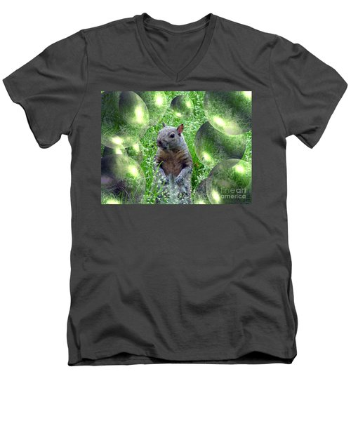 Squirrel In Bubbles Men's V-Neck T-Shirt