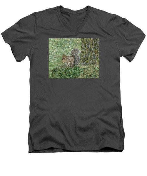 Squirrel Men's V-Neck T-Shirt by Lucinda V VanVleck