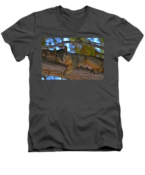 Squirrel On Watch Men's V-Neck T-Shirt