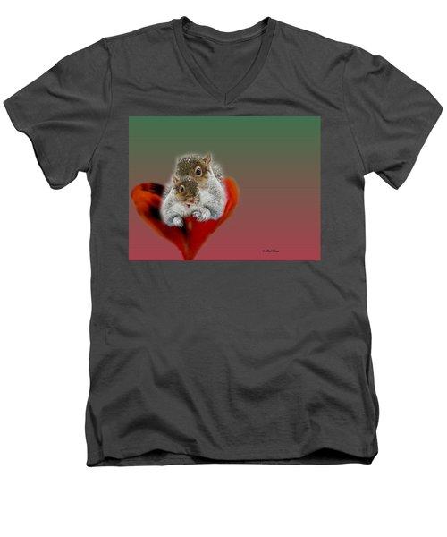Squirrels Valentine Men's V-Neck T-Shirt