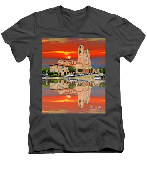 St Anne Church Of The Sunset In San Francisco With A Reflection  Men's V-Neck T-Shirt by Jim Fitzpatrick