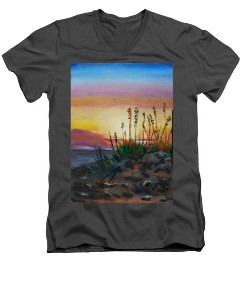 Men's V-Neck T-Shirt featuring the painting  Beach At Sunrise by Michael Daniels