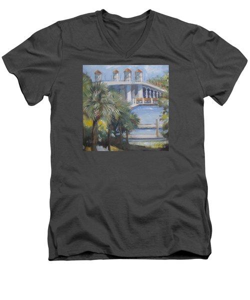 St Augustine Bridge Of Lions Men's V-Neck T-Shirt by Mary Hubley