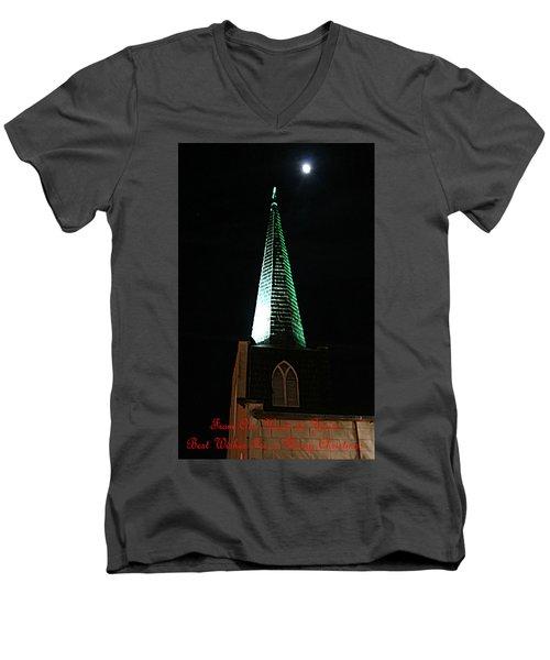 St. Augustine Moon Christmas Card Men's V-Neck T-Shirt