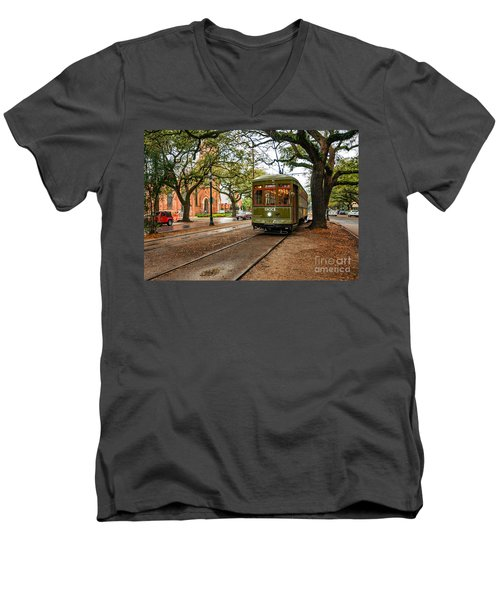 St. Charles Ave. Streetcar In New Orleans Men's V-Neck T-Shirt by Kathleen K Parker