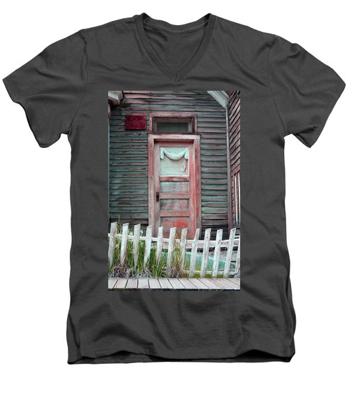 Men's V-Neck T-Shirt featuring the photograph St. Elmo Door Salmon by Lanita Williams