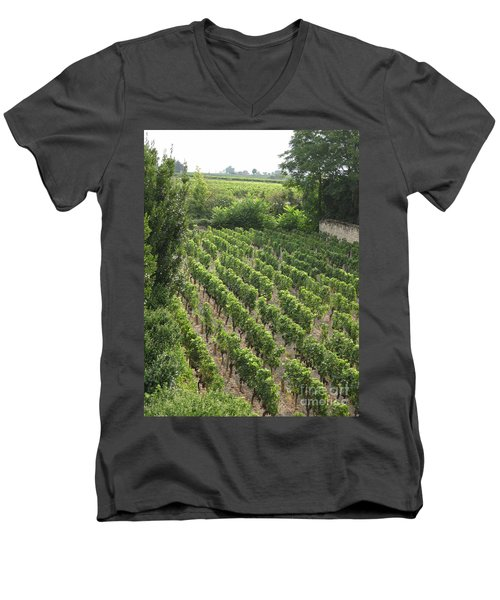 St. Emilion Vineyard Men's V-Neck T-Shirt by HEVi FineArt