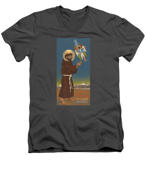 Men's V-Neck T-Shirt featuring the painting St. Francis Patron Of Colorado 186 by William Hart McNichols