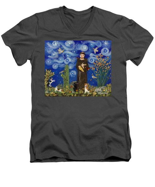 St. Francis Starry Night Men's V-Neck T-Shirt