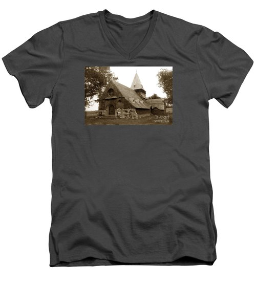 St. Johns Chapel Del Monte Monterey California 1895 Men's V-Neck T-Shirt