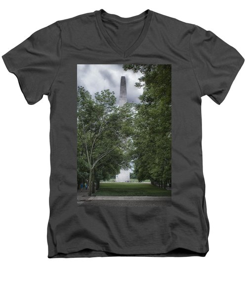 Men's V-Neck T-Shirt featuring the photograph St Louis Arch by Lynn Geoffroy