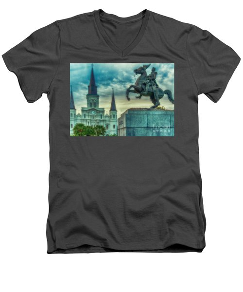 St. Louis Cathedral And Andrew Jackson- Artistic Men's V-Neck T-Shirt