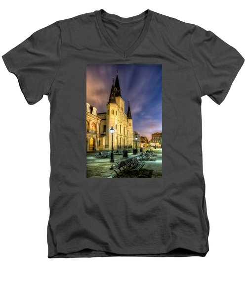 Men's V-Neck T-Shirt featuring the photograph St. Louis Cathedral At Dawn by Tim Stanley