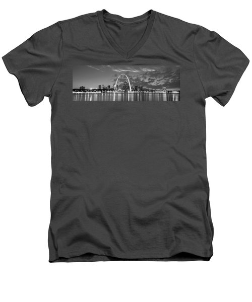 Men's V-Neck T-Shirt featuring the photograph St. Louis Skyline At Dusk Gateway Arch Black And White Bw Panorama Missouri by Jon Holiday