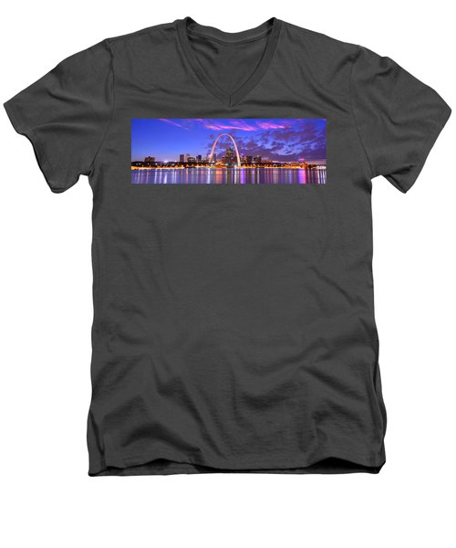 Men's V-Neck T-Shirt featuring the photograph St. Louis Skyline At Dusk Gateway Arch Color Panorama Missouri by Jon Holiday