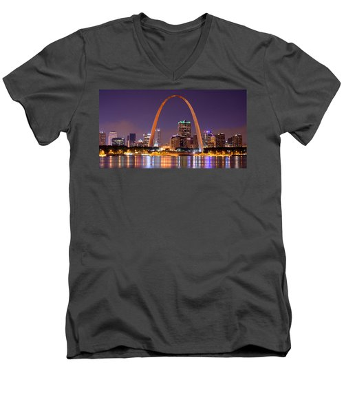 St. Louis Skyline At Night Gateway Arch Color Panorama Missouri Men's V-Neck T-Shirt