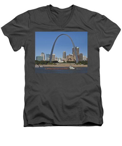St Louis Skyline Men's V-Neck T-Shirt by Garry McMichael