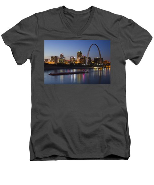St Louis Skyline With Barges Men's V-Neck T-Shirt