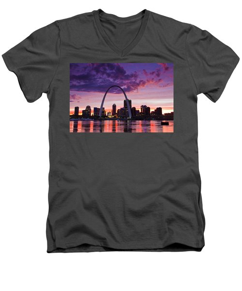 St Louis Sunset Men's V-Neck T-Shirt by Garry McMichael