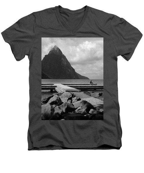 St Lucia Petite Piton 5 Men's V-Neck T-Shirt