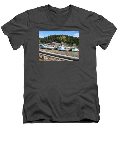 St-martin's Fishing Fleet Men's V-Neck T-Shirt by Francine Heykoop