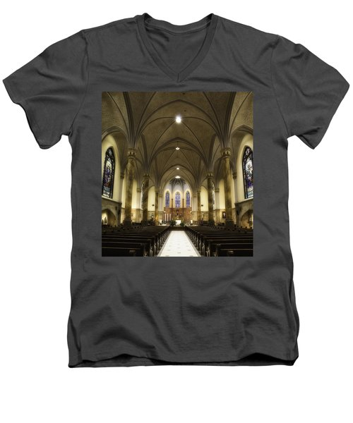 Men's V-Neck T-Shirt featuring the photograph St Mary's Catholic Church by Lynn Geoffroy