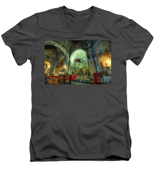 St Pere De Puelles Church - Barcelona Men's V-Neck T-Shirt
