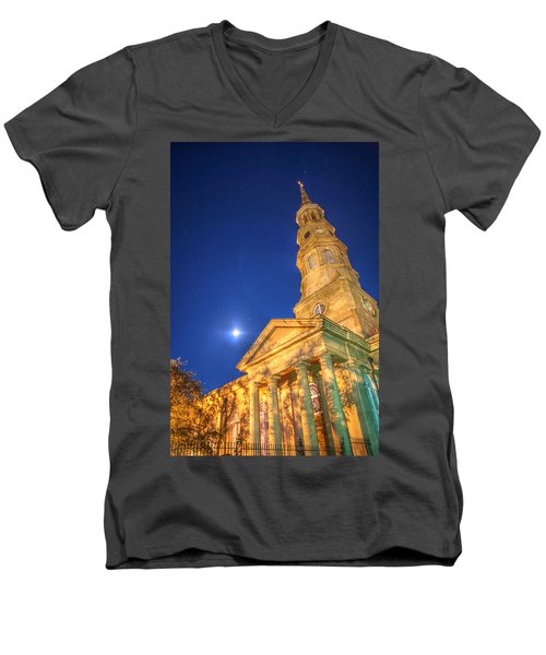 St. Phillip's At Night With Moon And Stars Men's V-Neck T-Shirt