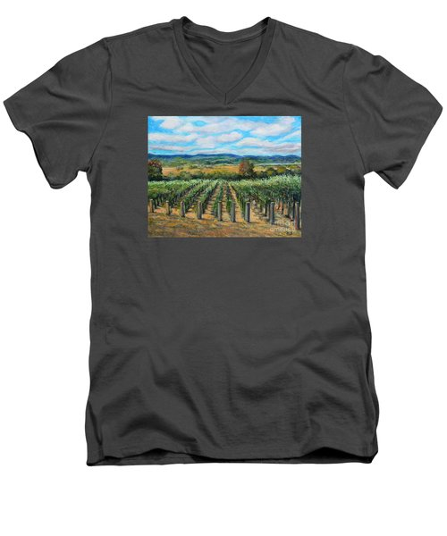 Men's V-Neck T-Shirt featuring the painting Stags' Leap Vineyard by Rita Brown