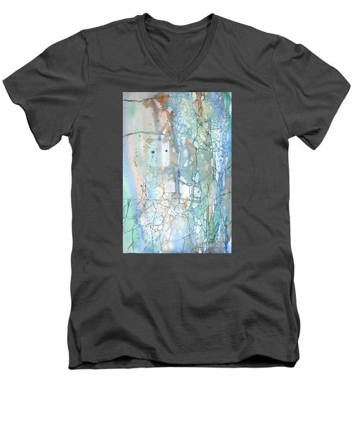 Men's V-Neck T-Shirt featuring the painting Stained Cracks by Rebecca Davis