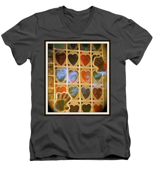 Stained Glass Hands And Hearts Men's V-Neck T-Shirt by Kathy Barney