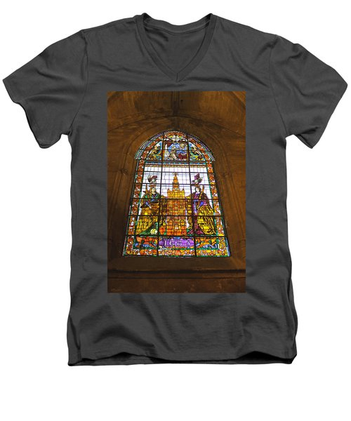 Stained Glass Window In Seville Cathedral Men's V-Neck T-Shirt by Tony Murtagh
