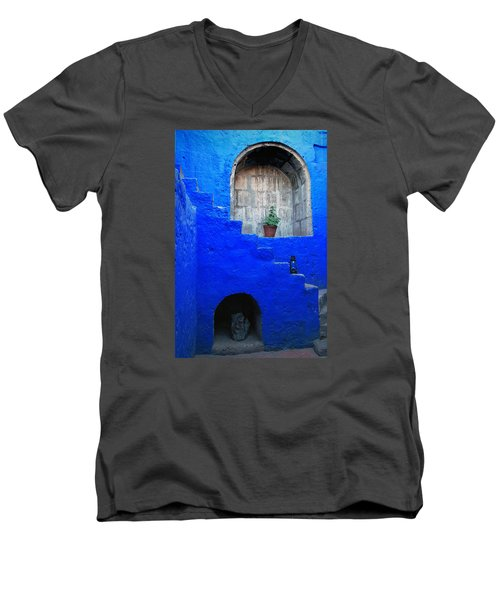 Staircase In Blue Courtyard Men's V-Neck T-Shirt by RicardMN Photography
