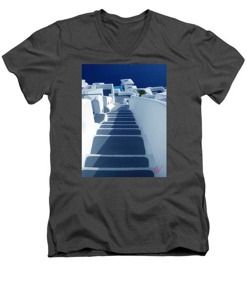 Stairs Down To Ocean Santorini Men's V-Neck T-Shirt by Colette V Hera  Guggenheim
