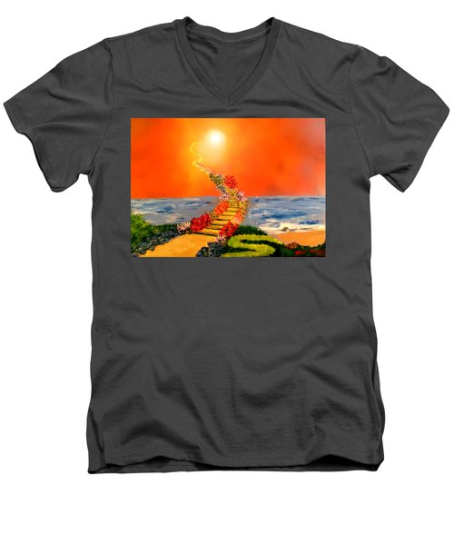 Men's V-Neck T-Shirt featuring the painting Stairway To Heaven by Michael Rucker