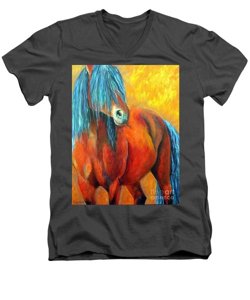 Men's V-Neck T-Shirt featuring the painting Stallions Concerto  by Alison Caltrider