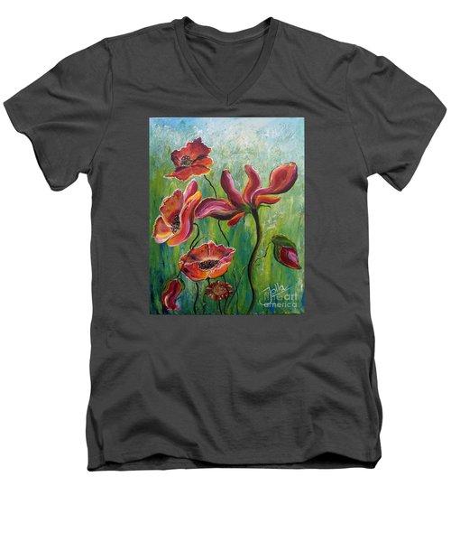 Standing High Men's V-Neck T-Shirt by Jolanta Anna Karolska