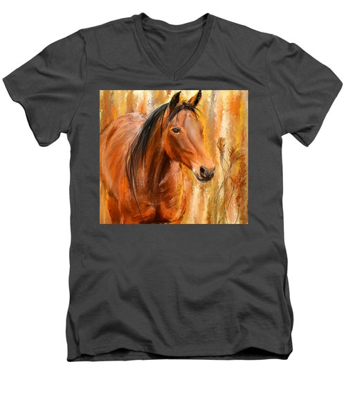 Standing Regally- Bay Horse Paintings Men's V-Neck T-Shirt